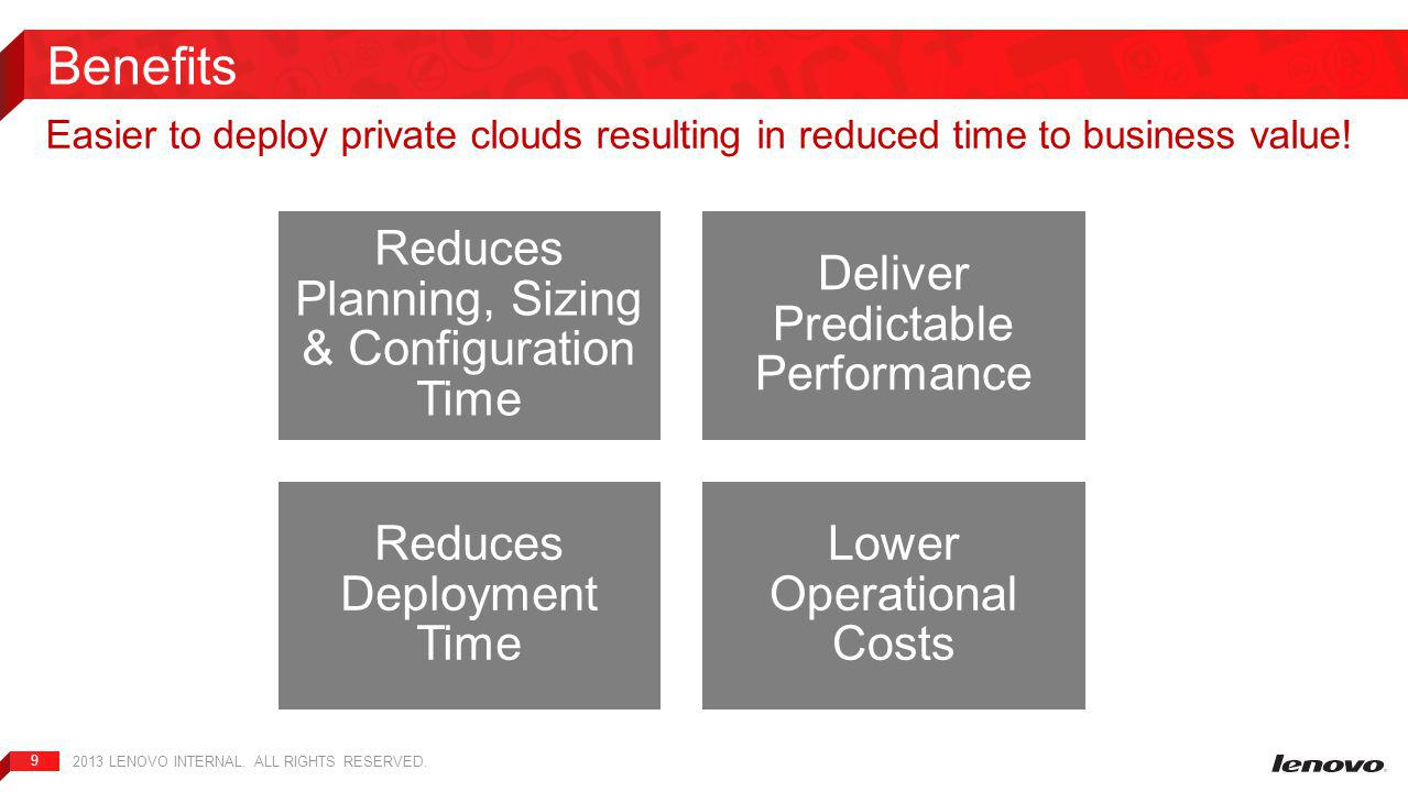 9 Easier to deploy private clouds resulting in reduced time to business value.