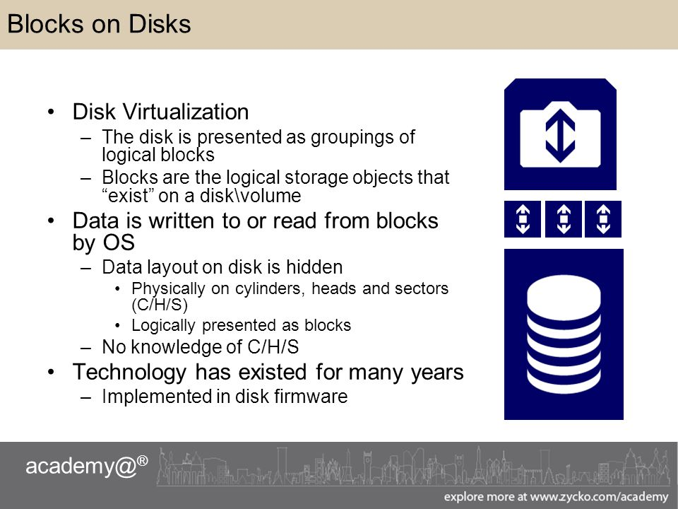 ® Blocks on Disks Disk Virtualization –The disk is presented as groupings of logical blocks –Blocks are the logical storage objects that exist on a disk\volume Data is written to or read from blocks by OS –Data layout on disk is hidden Physically on cylinders, heads and sectors (C/H/S) Logically presented as blocks –No knowledge of C/H/S Technology has existed for many years –Implemented in disk firmware