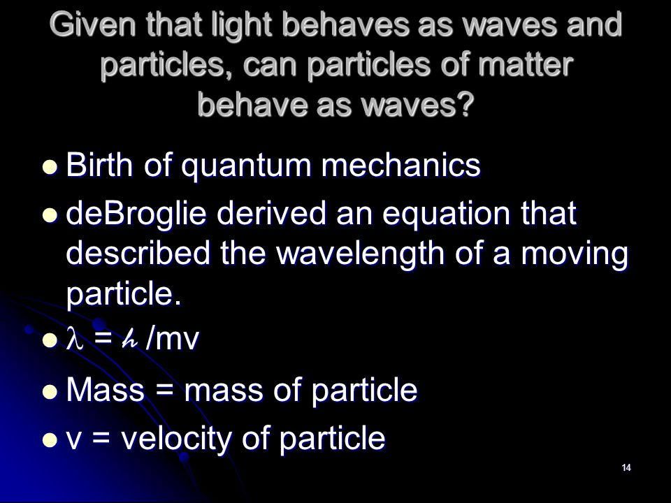 The Wave-like Electron Louis deBroglie The electron propagates through space as an energy wave.