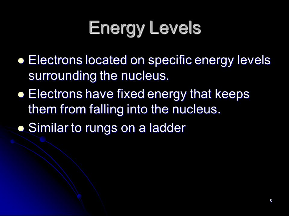 7 Energy Levels Region of space around the nucleus where the electron is most likely moving.