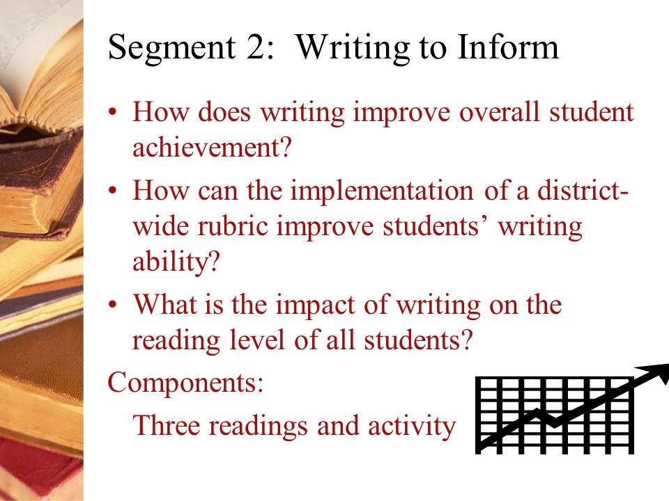 Segment 2: Writing to Inform How does writing improve overall student achievement.