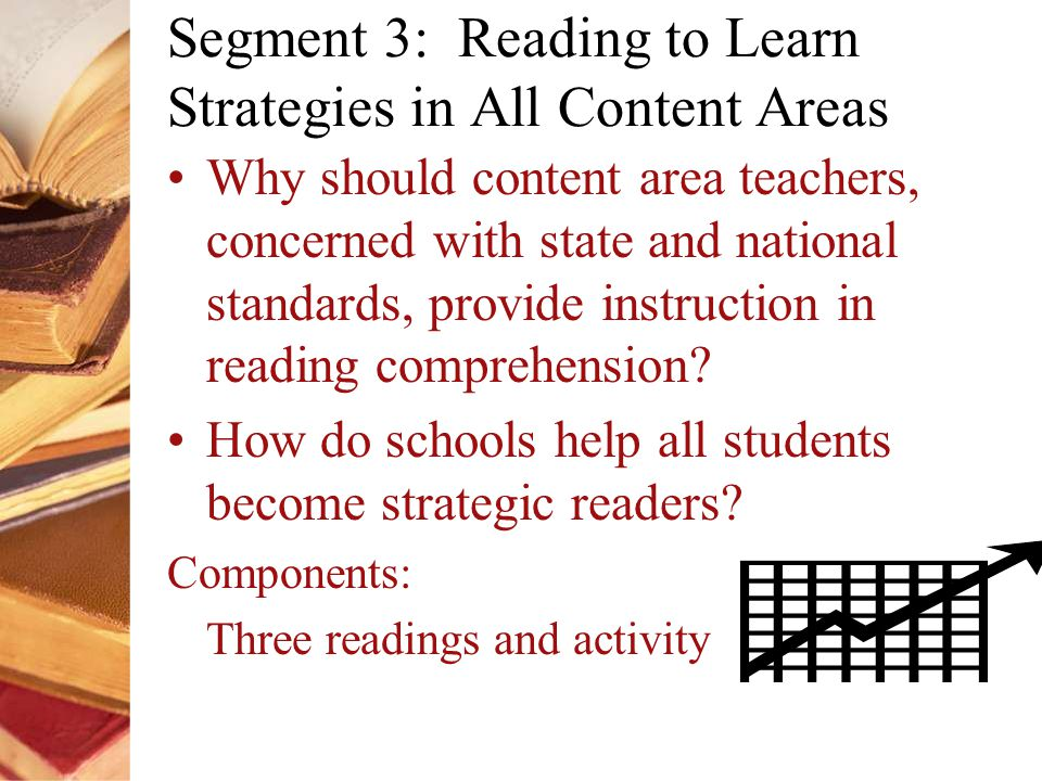 Segment 3: Reading to Learn Strategies in All Content Areas Why should content area teachers, concerned with state and national standards, provide instruction in reading comprehension.