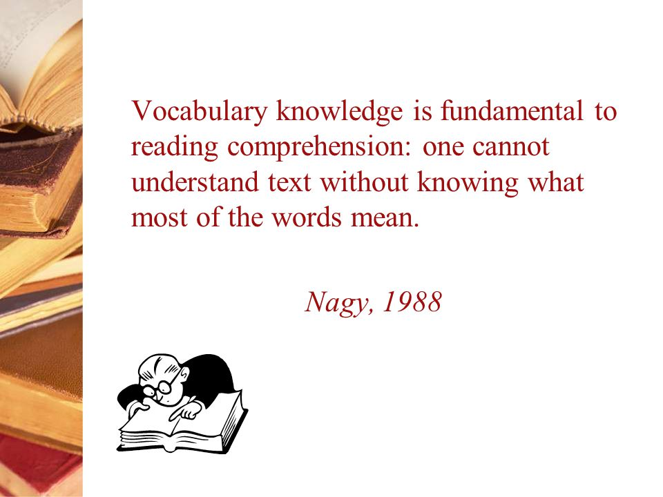Vocabulary knowledge is fundamental to reading comprehension: one cannot understand text without knowing what most of the words mean.