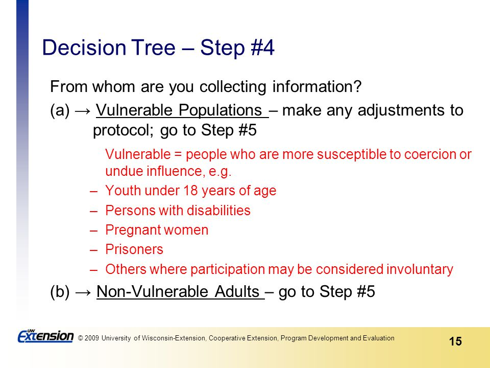 15 © 2009 University of Wisconsin-Extension, Cooperative Extension, Program Development and Evaluation Decision Tree – Step #4 From whom are you collecting information.