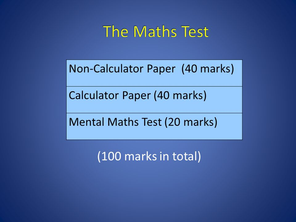 (100 marks in total) Non-Calculator Paper (40 marks) Calculator Paper (40 marks) Mental Maths Test (20 marks)