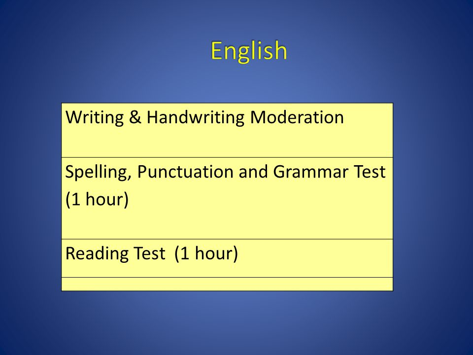 Writing & Handwriting Moderation Spelling, Punctuation and Grammar Test (1 hour) Reading Test (1 hour)