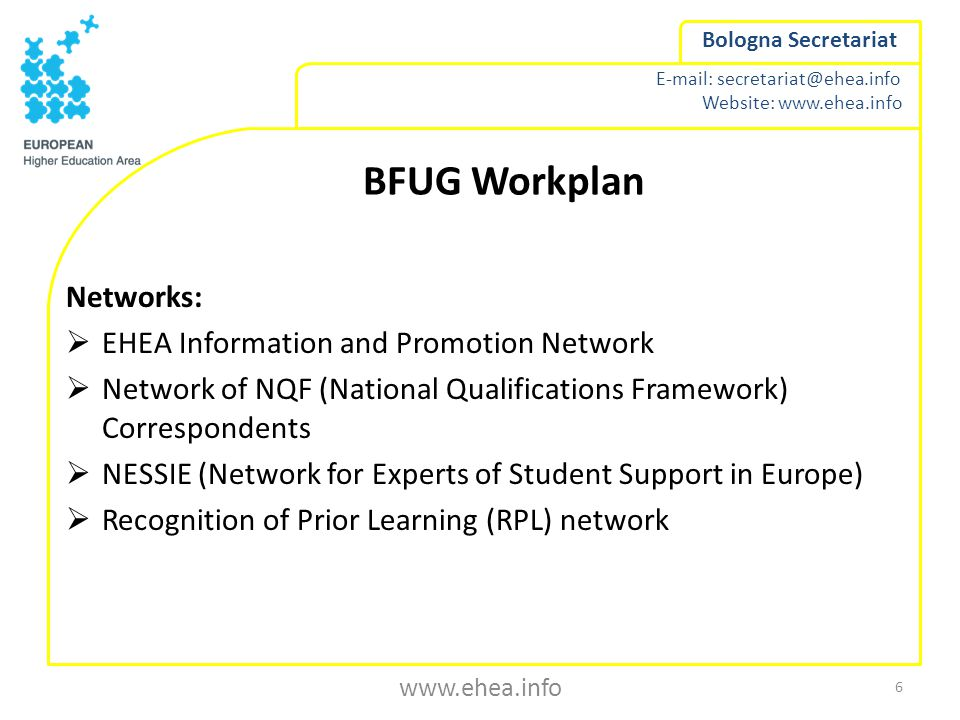 Website:   Bologna Secretariat BFUG Workplan Networks:  EHEA Information and Promotion Network  Network of NQF (National Qualifications Framework) Correspondents  NESSIE (Network for Experts of Student Support in Europe)  Recognition of Prior Learning (RPL) network 6