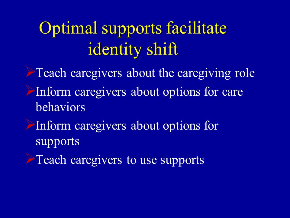 Optimal supports facilitate identity shift  Teach caregivers about the caregiving role  Inform caregivers about options for care behaviors  Inform caregivers about options for supports  Teach caregivers to use supports