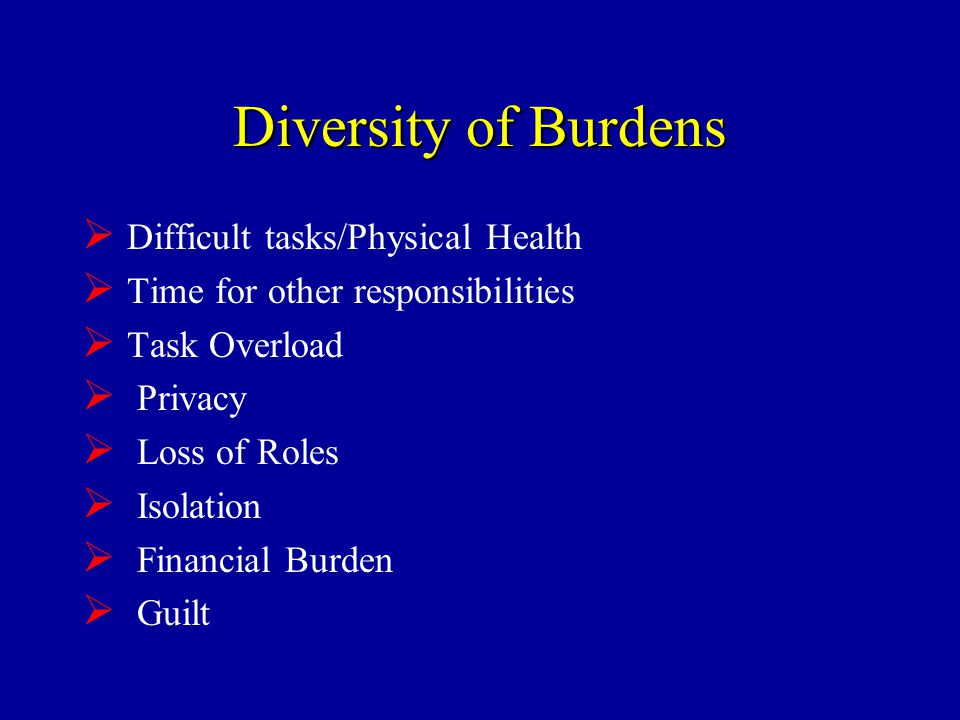 Diversity of Burdens  Difficult tasks/Physical Health  Time for other responsibilities  Task Overload  Privacy  Loss of Roles  Isolation  Financial Burden  Guilt