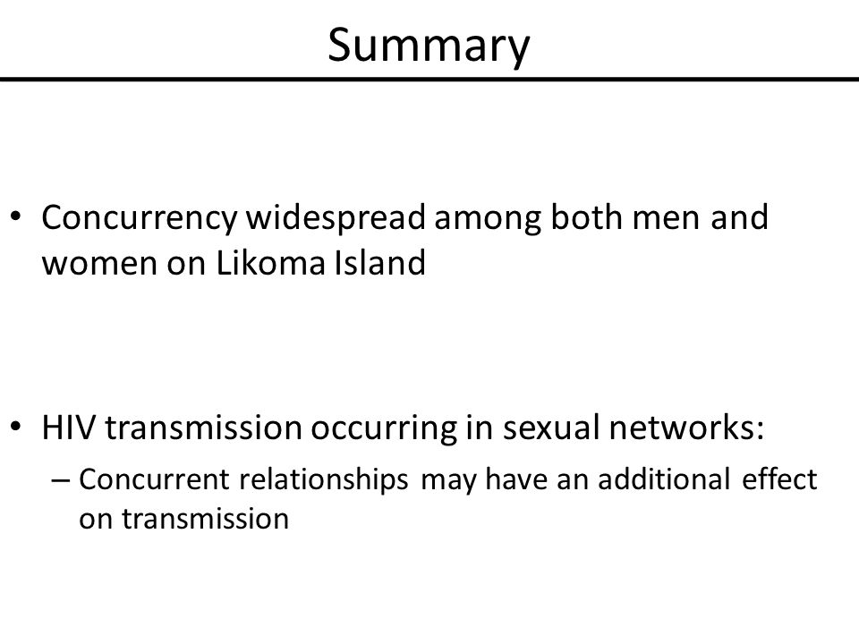 Sexual networks concurrency and std/hiv