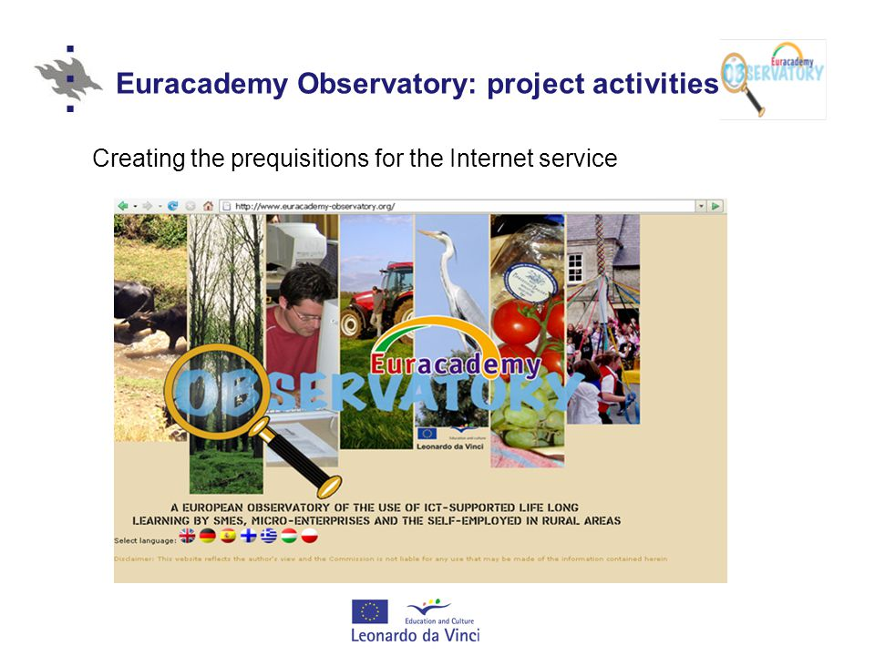 Euracademy Observatory: project activities Creating the prequisitions for the Internet service