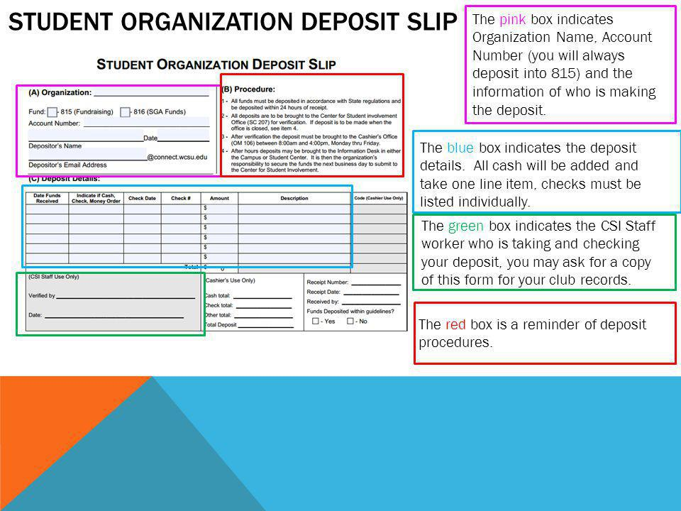 STUDENT ORGANIZATION DEPOSIT SLIP The pink box indicates Organization Name, Account Number (you will always deposit into 815) and the information of who is making the deposit.