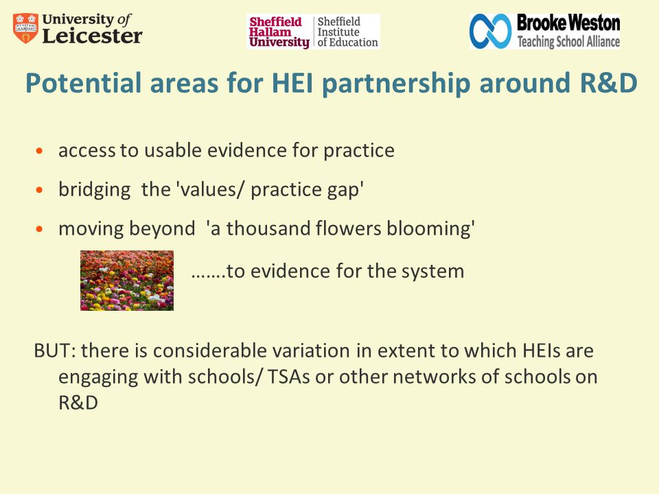 Potential areas for HEI partnership around R&D access to usable evidence for practice bridging the values/ practice gap moving beyond a thousand flowers blooming …….to evidence for the system BUT: there is considerable variation in extent to which HEIs are engaging with schools/ TSAs or other networks of schools on R&D