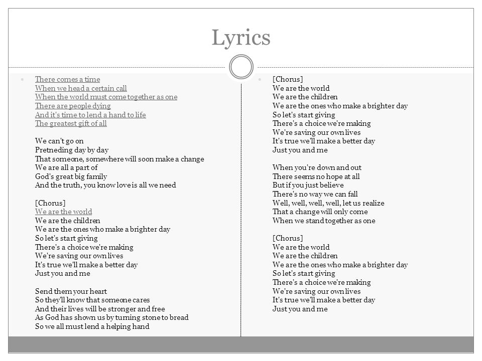 Lyric one day at a time lyrics : BY: USA FOR AFRICA PRESENTED BY: RUSSELL HARRIS WRITTEN BY ...