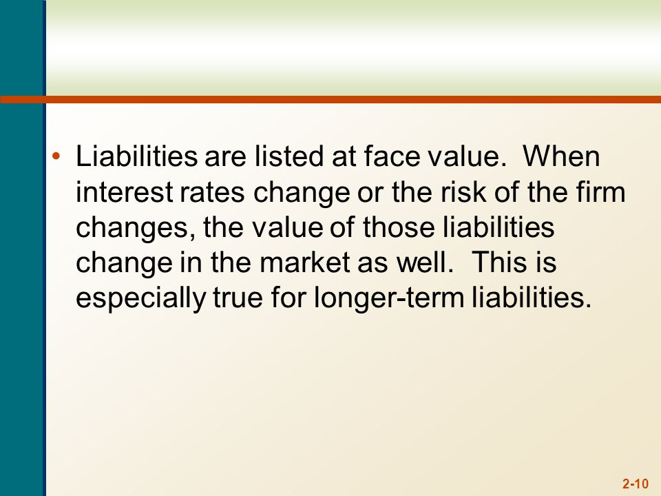 2-10 Liabilities are listed at face value.