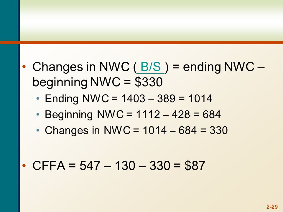 2-29 Changes in NWC ( B/S ) = ending NWC – beginning NWC = $330 B/S Ending NWC = 1403 – 389 = 1014 Beginning NWC = 1112 – 428 = 684 Changes in NWC = 1014 – 684 = 330 CFFA = 547 – 130 – 330 = $87