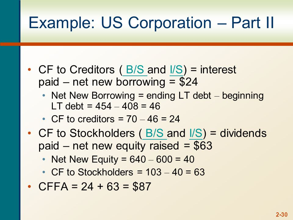 2-30 Example: US Corporation – Part II CF to Creditors ( B/S and I/S) = interest paid – net new borrowing = $24 B/S I/S Net New Borrowing = ending LT debt – beginning LT debt = 454 – 408 = 46 CF to creditors = 70 – 46 = 24 CF to Stockholders ( B/S and I/S) = dividends paid – net new equity raised = $63 B/S I/S Net New Equity = 640 – 600 = 40 CF to Stockholders = 103 – 40 = 63 CFFA = = $87