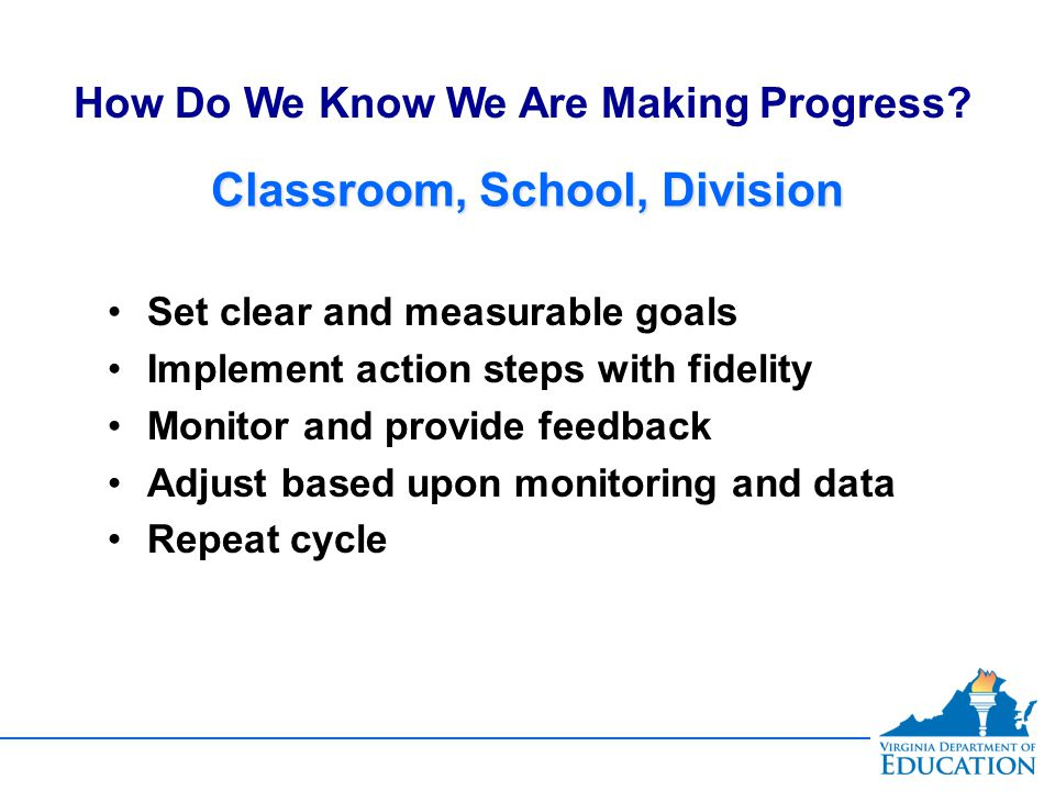 Classroom, School, Division Set clear and measurable goals Implement action steps with fidelity Monitor and provide feedback Adjust based upon monitoring and data Repeat cycle Set clear and measurable goals Implement action steps with fidelity Monitor and provide feedback Adjust based upon monitoring and data Repeat cycle How Do We Know We Are Making Progress