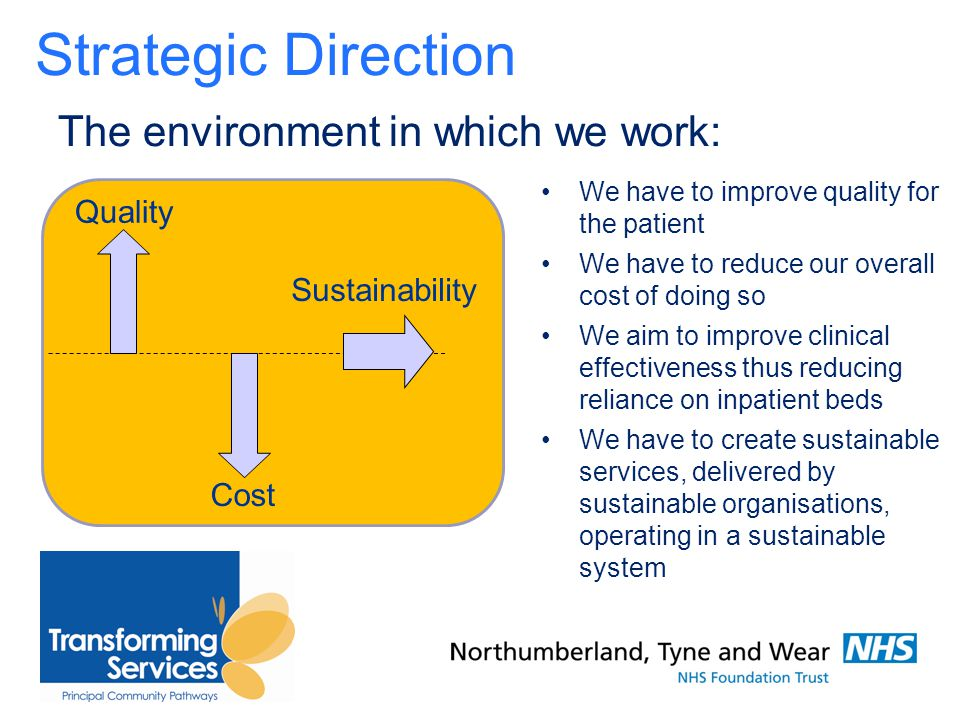 The environment in which we work: We have to improve quality for the patient We have to reduce our overall cost of doing so We aim to improve clinical effectiveness thus reducing reliance on inpatient beds We have to create sustainable services, delivered by sustainable organisations, operating in a sustainable system Quality Cost Sustainability Strategic Direction