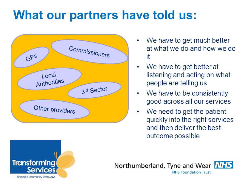 What our partners have told us: We have to get much better at what we do and how we do it We have to get better at listening and acting on what people are telling us We have to be consistently good across all our services We need to get the patient quickly into the right services and then deliver the best outcome possible GPs Commissioners Local Authorities 3 rd Sector Other providers