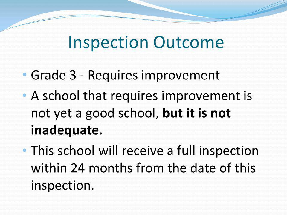 Inspection Outcome Grade 3 - Requires improvement A school that requires improvement is not yet a good school, but it is not inadequate.