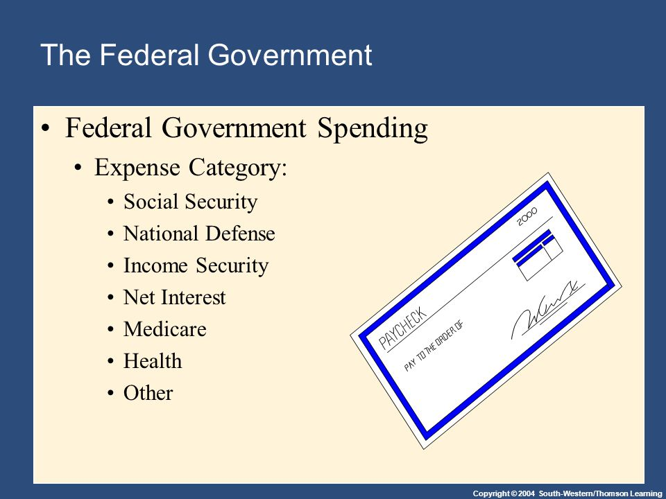 Copyright © 2004 South-Western/Thomson Learning The Federal Government Federal Government Spending Expense Category: Social Security National Defense Income Security Net Interest Medicare Health Other