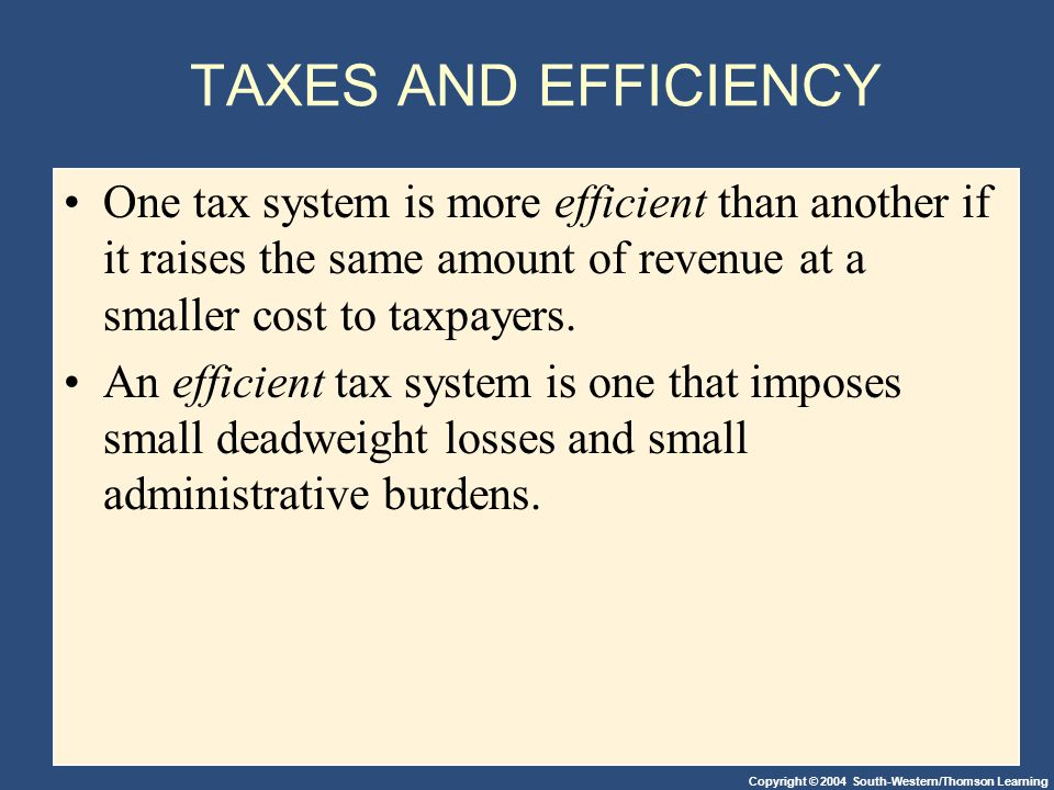 Copyright © 2004 South-Western/Thomson Learning TAXES AND EFFICIENCY One tax system is more efficient than another if it raises the same amount of revenue at a smaller cost to taxpayers.