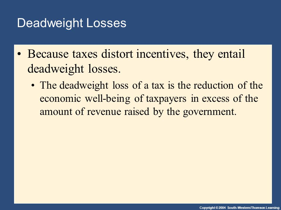 Copyright © 2004 South-Western/Thomson Learning Deadweight Losses Because taxes distort incentives, they entail deadweight losses.