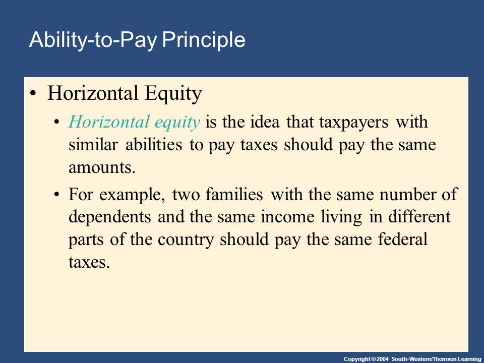 Copyright © 2004 South-Western/Thomson Learning Ability-to-Pay Principle Horizontal Equity Horizontal equity is the idea that taxpayers with similar abilities to pay taxes should pay the same amounts.