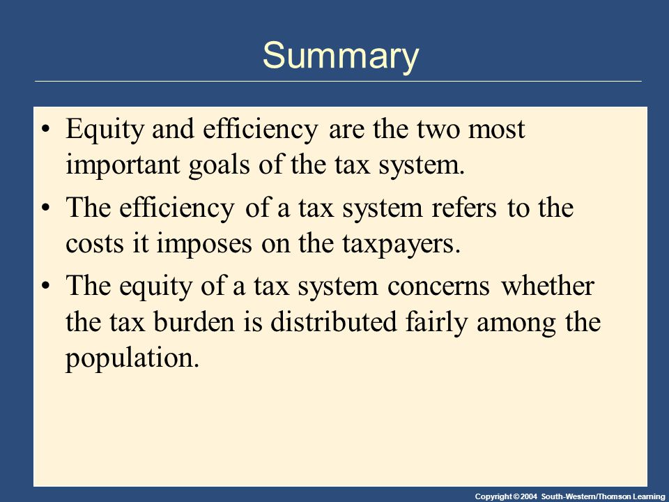 Copyright © 2004 South-Western/Thomson Learning Summary Equity and efficiency are the two most important goals of the tax system.