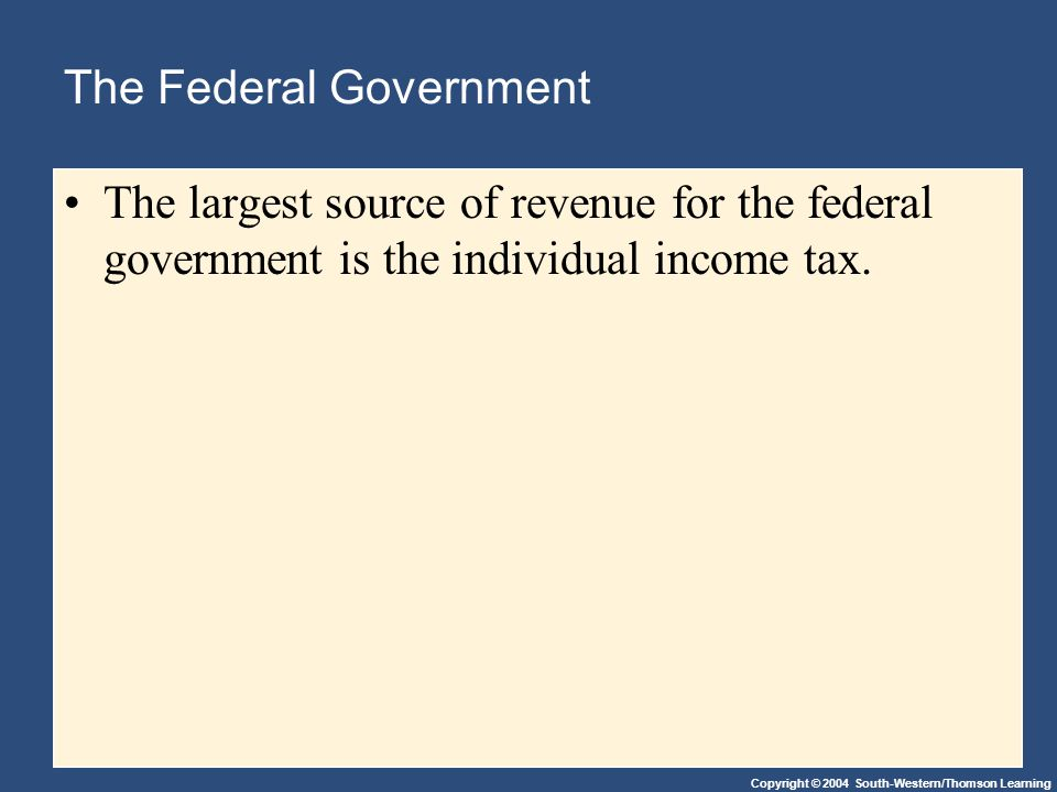 Copyright © 2004 South-Western/Thomson Learning The Federal Government The largest source of revenue for the federal government is the individual income tax.