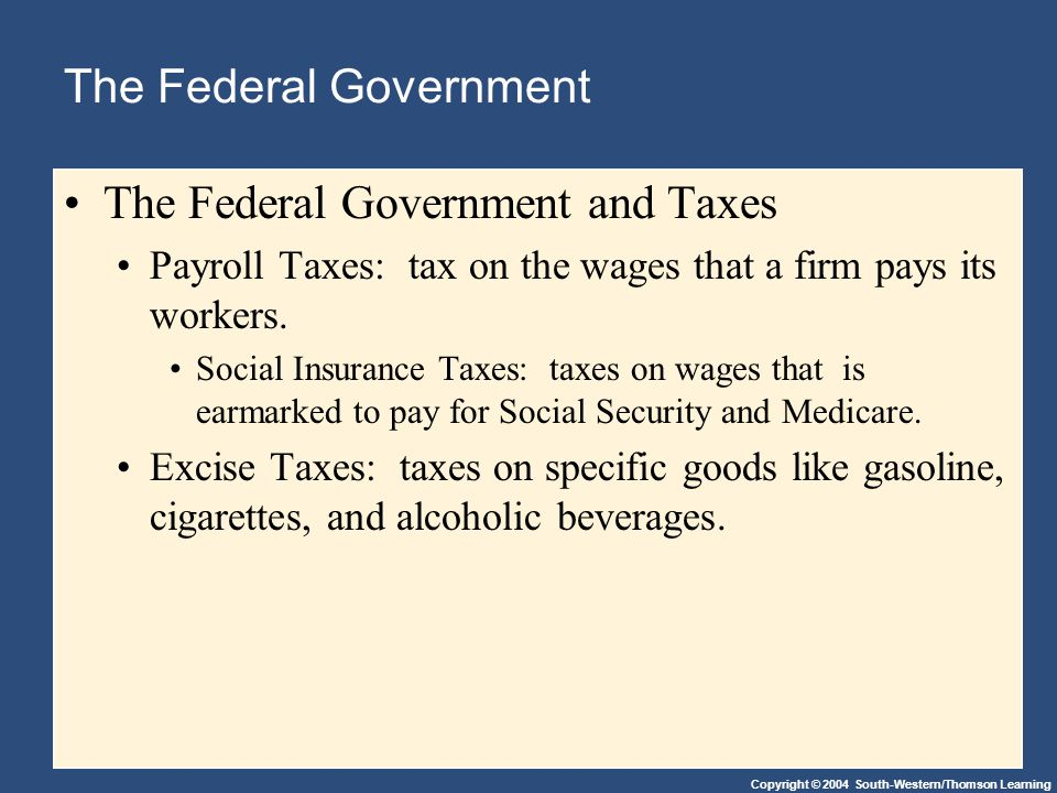 Copyright © 2004 South-Western/Thomson Learning The Federal Government The Federal Government and Taxes Payroll Taxes: tax on the wages that a firm pays its workers.