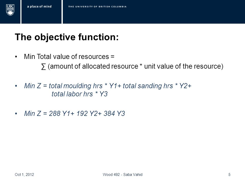 The objective function: Min Total value of resources = ∑ (amount of allocated resource * unit value of the resource) Min Z = total moulding hrs * Y1+ total sanding hrs * Y2+ total labor hrs * Y3 Min Z = 288 Y Y Y3 Oct 1, 2012Wood Saba Vahid5