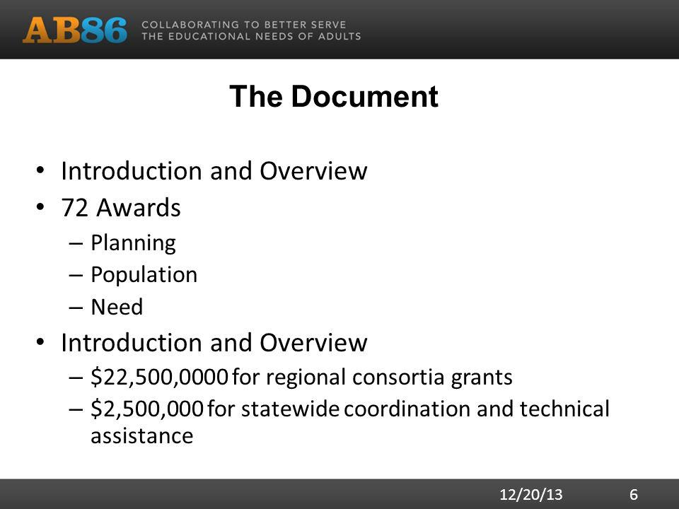 The Document Introduction and Overview 72 Awards – Planning – Population – Need Introduction and Overview – $22,500,0000 for regional consortia grants – $2,500,000 for statewide coordination and technical assistance 12/20/13 6