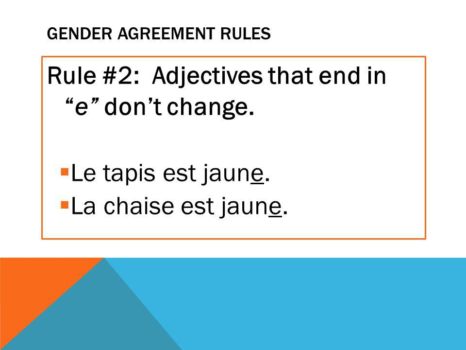 GENDER AGREEMENT RULES Rule #2: Adjectives that end in e don't change.