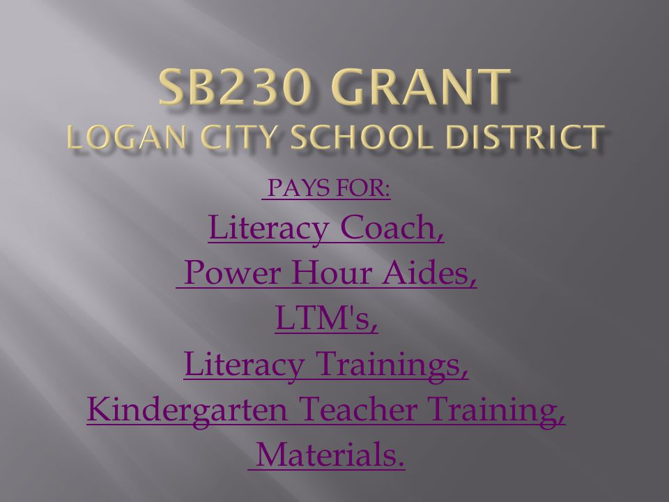 PAYS FOR: Literacy Coach, Power Hour Aides, LTM s, Literacy Trainings, Kindergarten Teacher Training, Materials.
