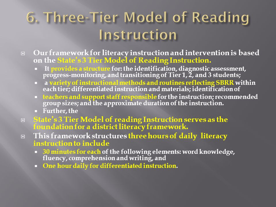  Our framework for literacy instruction and intervention is based on the State's 3 Tier Model of Reading Instruction.