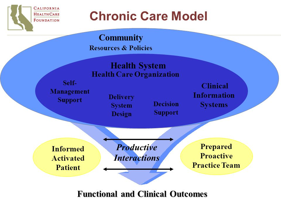 Informed Activated Patient Productive Interactions Prepared Proactive Practice Team Functional and Clinical Outcomes Delivery System Design Decision Support Clinical Information Systems Self- Management Support Health System Resources & Policies Community Health Care Organization Chronic Care Model