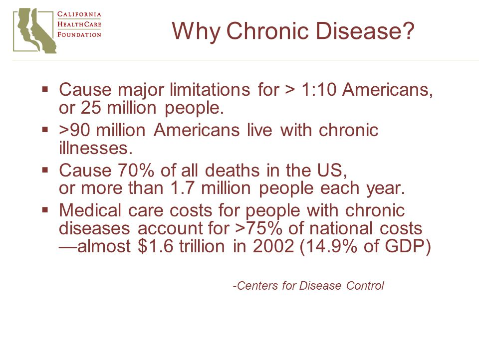 Why Chronic Disease.  Cause major limitations for > 1:10 Americans, or 25 million people.