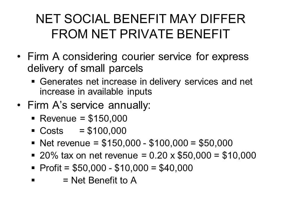 NET SOCIAL BENEFIT MAY DIFFER FROM NET PRIVATE BENEFIT Firm A considering courier service for express delivery of small parcels  Generates net increase in delivery services and net increase in available inputs Firm A's service annually:  Revenue = $150,000  Costs = $100,000  Net revenue = $150,000 - $100,000 = $50,000  20% tax on net revenue = 0.20 x $50,000 = $10,000  Profit = $50,000 - $10,000 = $40,000  = Net Benefit to A