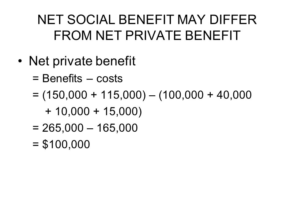 NET SOCIAL BENEFIT MAY DIFFER FROM NET PRIVATE BENEFIT Net private benefit = Benefits – costs = (150, ,000) – (100, , , ,000) = 265,000 – 165,000 = $100,000