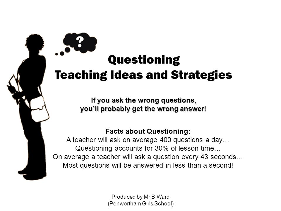 Produced by Mr B Ward (Penwortham Girls School) Questioning Teaching Ideas and Strategies If you ask the wrong questions, you'll probably get the wrong answer.