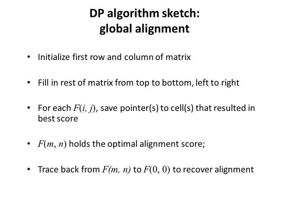 DP algorithm sketch: global alignment Initialize first row and column of matrix Fill in rest of matrix from top to bottom, left to right For each F(i, j), save pointer(s) to cell(s) that resulted in best score F(m, n) holds the optimal alignment score; Trace back from F(m, n) to F(0, 0) to recover alignment