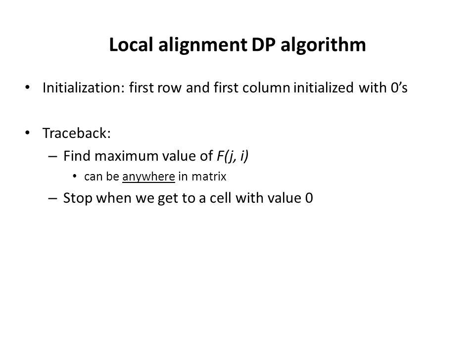 Local alignment DP algorithm Initialization: first row and first column initialized with 0's Traceback: – Find maximum value of F(j, i) can be anywhere in matrix – Stop when we get to a cell with value 0