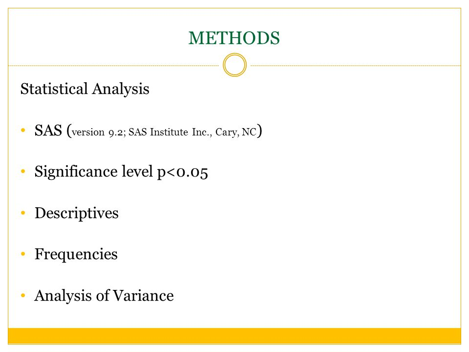 METHODS Statistical Analysis SAS ( version 9.2; SAS Institute Inc., Cary, NC ) Significance level p<0.05 Descriptives Frequencies Analysis of Variance