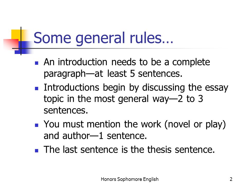 honors sophomore english writing the introductory paragraph  honors sophomore english some general rules an introduction needs to be a  complete paragraph