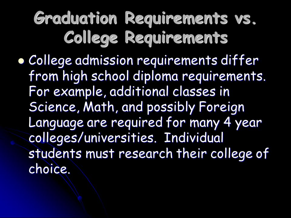 Graduation Requirements vs.