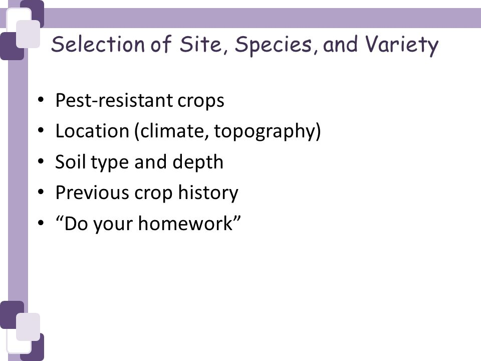 Selection of Site, Species, and Variety Pest-resistant crops Location (climate, topography) Soil type and depth Previous crop history Do your homework