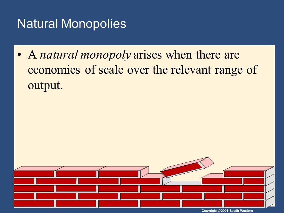 Copyright © 2004 South-Western Natural Monopolies A natural monopoly arises when there are economies of scale over the relevant range of output.
