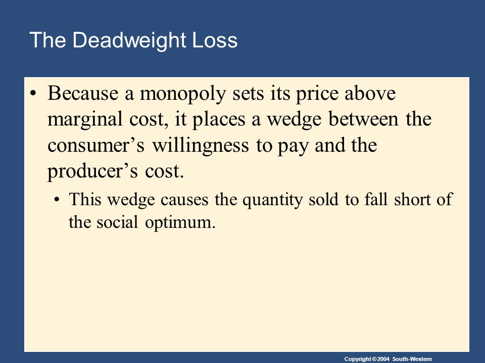 Copyright © 2004 South-Western The Deadweight Loss Because a monopoly sets its price above marginal cost, it places a wedge between the consumer's willingness to pay and the producer's cost.